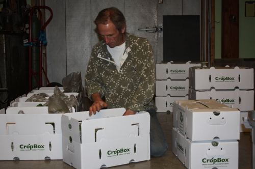 Scott packing Spring Share boxes.