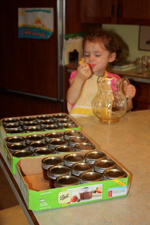 Finishing up the honey pour.