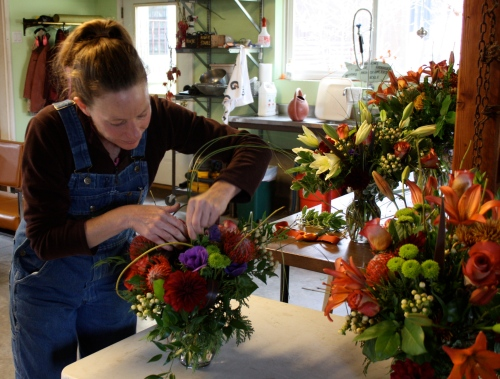 Jennifer working on floral pieces for a special event.
