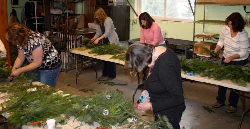 Wreath artists hard at work.