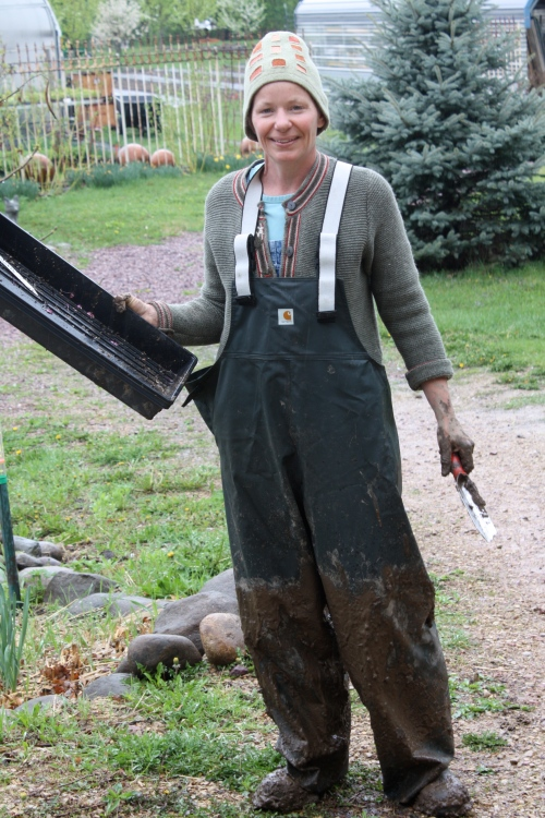 "Just finished the kale transplants and the rain stops.  No comment on my styling ""roomy"" size large rain pants!"