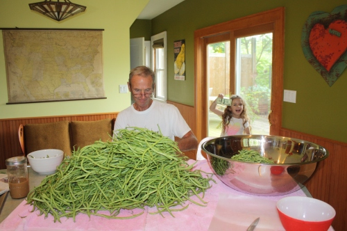 Scott cutting beans for canning and Maeve offering him a few bucks as an insentive.