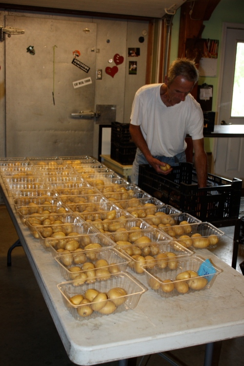 Scott portioning out the potatoes.