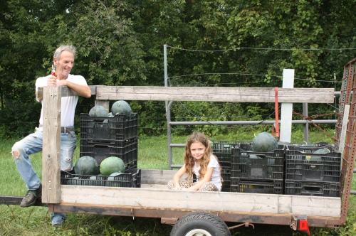 Scott and Maeve at the end of the Black Tail Mountain watermelon harvest.