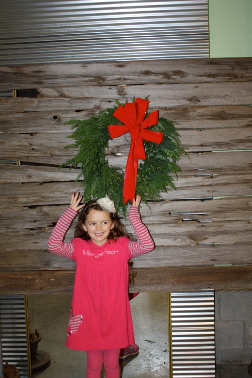 Maeve and Scott even make a wreath this year at 1 of the workshops and it hangs on our garage door to greet friends.