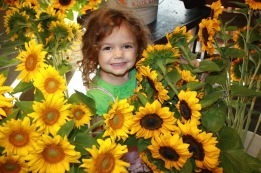 A flashback photo of sunflower bouquet making in the past